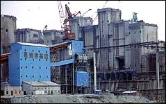 A concrete batching plant on the construction site for a gravity dam