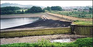 A build up of black peaty silt behind Bottoms Dam