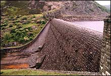 Curved downstream face of Caban Coch Dam spillway