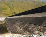 Reinforced concrete cover on upstream face of Quoich Dam