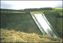 Water flowing over spillway
