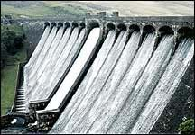 Water falling over spillways